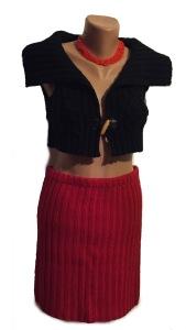 fusta rosie tricot si bolero negru